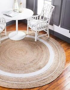 Rug 100% Natural Jute Braided Style round Reversible Area Carpet home decor rugs