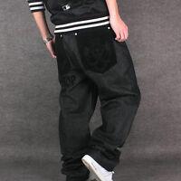 2019 Hip-Hop Mens Jeans Pants Baggy Loose Fit Denim Trousers Hip Hop Plus Size