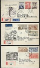 CZECHOSLOVAKIA 1950s COLLECTION OF SIX REGISTERED AIR MAIL COVER FDCs DIFFERENT