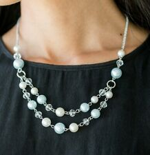 Paparazzi ~ The Princess BRIDESMAID ~ Blue & White Pearls & Crystal Necklace set
