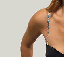 Womens NEW Rhinestone Crystal Diamante Silver Turquoise Bra Straps 1 pair NWT