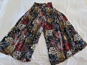 VINJTAGE RENE DERHY WOMEN'S COLORFUL FLORAL CULOTTE PULL-ON PANTS - M