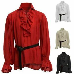 Retro Men Gothic Shirt Top Victorian Medieval Ruffle Pirate Puff Sleeve Bandage