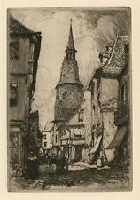 """Large Framed Print – Artist Clarence Gagnon """"La tour de l'horloge a Dinan"""" (Art)"""