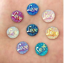 10 PIECES SPARKLING DRUZY RESIN CABOCHON ROUND LOVE EMBELLISHMENT, JEWELERY 12mm