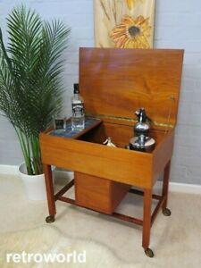 Mid Century Vintage 60s 70s Teak Cocktail Drinks Bar Trolley Cabinet Danish Era