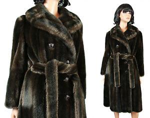 Faux Mink Fur Trench Coat M Vintage Mahogany Brown Plush Winter Jacket Tissavel