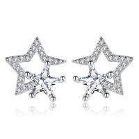925 Sterling Silver Crystal CZ Star Shape Stud Earrings Women Fashion Jewelry