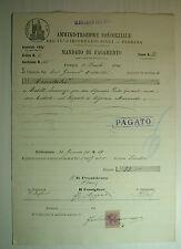 1896  ITALIA   Mandato di Pagamento  Lire 33  con bollo da  5 Centesimi