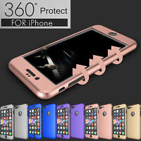 360° Protection Acrylic Hard Case + Tempered Glass Cover For Apple iPhone 6 6S 7