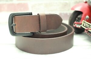 """Mens Leather Belt solid heavy antique Buckle 1.5"""" wide 3.5mm thick handmade UK"""
