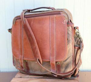 Korchmar Green Gray Waxed Canvas Brown Leather Backpack Shoulder Satchel Bag