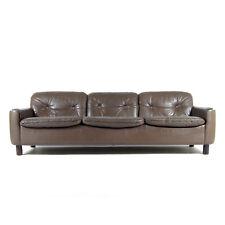 Retro Vintage danés moderno Thams Cuero 3 asientos asientos del sofá 60s 70s mediados de siglo