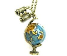Necklace Binoculars World Globe Unusual Gift Globetrotter Long Chain Birthday