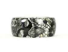 CHANEL 13P Black Lace & Mini Pearl Clear Lucite Bangle Bracelet