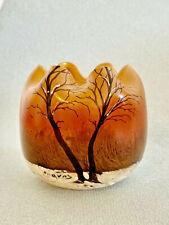 Petit Vase Boule LEGRAS Verre Emaille Peint Decor Neige 1900 Modèle Référencé