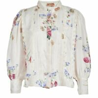 LoveShackFancy Floral Tegan Puff Sleeve Silk Blouse Size Small
