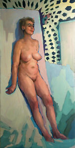 Academic Study Older Woman Female Busty Figure Nude Figurative Oil Art Painting