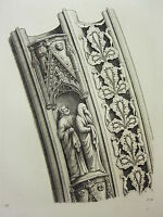 1795 PRINT GOTHIC ORNAMENT YORK MINSTER ~ MOULDINGS IN ARCH TO THE WEST DOOR