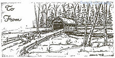 Christmas Tag Covered Bridge, Wood Mounted Rubber Stamp NORTHWOODS - New, O3887
