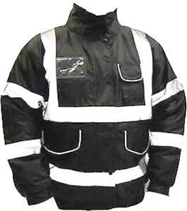 Bomber Jacket Black Reflective Security Coat Hi Visibility Vis Safety S to 3XL