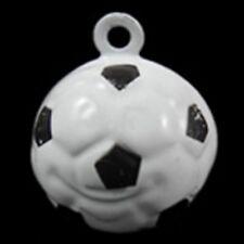 Black & White Soccer Ball Colorful 17mm Jingle Bells 2pc