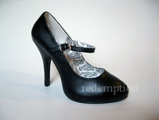 "*Gorgeous 4.5"" Heel Retro Matte Black Rockabilly Pinup Goth MaryJane Pumps 6"