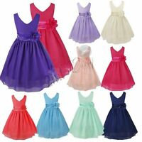 Flower Girl Dress Kid Birthday Wedding Bridesmaid Pageant Communion Formal Gown