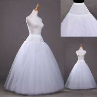 Wedding Dress Crinoline PromPetticoat Skirt Slip White 3-Hoops1 layer Petticoat