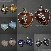 Natural Gemstone Heart Silver Plated Flower Reiki Chakra Pendant Charm Beads