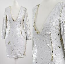 TIGER MIST, WHITE GOLD SEQUIN, PLUNGE NECK SEXY CLUB PARTY DRESS 8 Small S