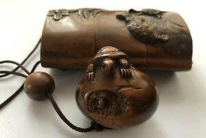 Antique Japanese carved Netsuke & Inro 18th century ? Edo Period RARE