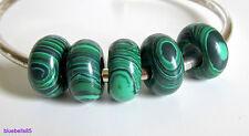 GREEN FAUX MALACHITE STONE Abacus BEAD For 3mm European Charm Bracelet