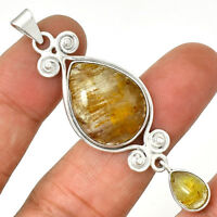 Owl - Golden Cacoxenite 925 Sterling Silver Pendant Jewelry AP8482
