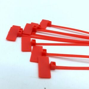 100x Red Nylon Self-Locking Label Tie Network Cable Marker Wire 210x2.5 mm