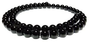 😏 Schwarzer Obsidian Kugeln 6 mm Edelstein Perlen Strang für Mala, Kette +  😉