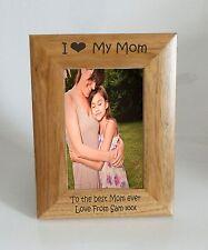 Mom Photo Frame 5 x 7 - I heart-Love My Mom 5 x 7 Photo Frame - Free Engraving