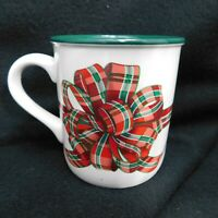 Potpourri Press Tartan Ribbon Christmas Bow Coffee Mug Tea Cup Vintage 1991 GUC