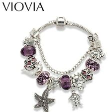 VIOVIA BEADS SILVER PLATED PURPLE BEADED BRACELET 19 CM DOLPHIN & TURTLE CHARMS