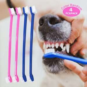 4pcs Pet Dog Toothbrush 2 Side Dog Oral Dental Teeth Brush Cleaner Care Chew Toy