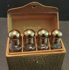 Travel Perfume 4 Mini Bottles + Stoppers Leather Case Barcelona Spain Vintage
