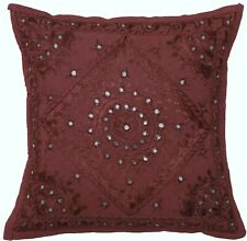 "16"" Wine Mirror Embroidered Pillow Cushion Cover Sofa Couch Throw Home Decor"