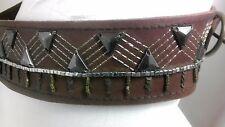Abercrom & Pitch Leather Brown Belt Rivet & Sequins Design Waist Size S M L XL
