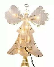"Kurt Adler 10"" Metal Reflector Angel  Christmas Tree Topper Clear Lights New"