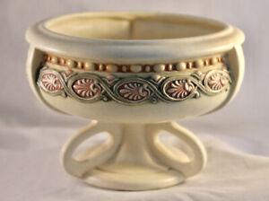 Weller Ivory Glaze Footed Bowl Multi-color Raised Nouveau Design Pink Green