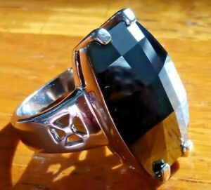 Ladies Chunky Solid 925 Sterling Silver Ring Size N + Box ( Black Stone )