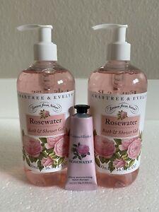 Crabtree & Evelyn Rosewater Bath & Shower Gel x2 500ml 16.9 Fl Oz & Hand Therapy