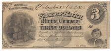 1864 Valley River Mining Company (SC) Three Dollar Note RARE Sh953 - 0958
