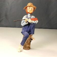 Unique Folk Art Hand Made In The Ozarks Old Man Figurine With Pipe, Hat And Gun