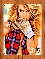"TIN SIGN ""Stihl Glove Calender Girl"" Vintage Pin Up Rustic Wall Decor"